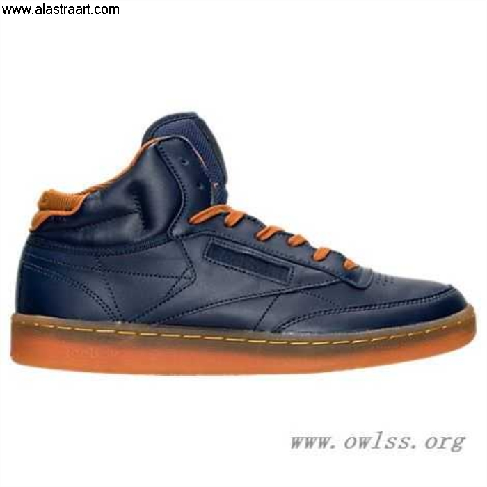 Collegiate Navy/Ginger/Paper White Mens Reebok Club C Shoes Picking Cord Mid Casual BD1611 BGHMNORSWY